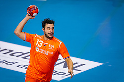 The Dutch handball player Samir Benghanem in action against Slovenia during the European Championship qualifying match on January 6, 2020 in Topsportcentrum Almere