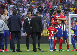 May 12, 2019 - Madrid, Madrid, Spain - Godin, Griezmann and Koke of Atletico de Madrid in action during La Liga Spanish championship, , football match between Atletico de Madrid and Sevilla, May 12th, in Wanda Metropolitano Stadium in Madrid, Spain. (Credit Image: © AFP7 via ZUMA Wire)