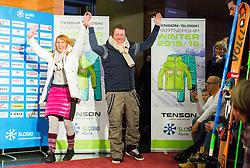 Katja Koren and Drago Grubelnik during the Ski Association of Slovenia Fashion Show where Slovene Ski Legends and current Slovenian World Cup skiers present new SLOSKI Alpine official clothing design at Day 1 of FIS Alpine Ski World Cup 54th Vitranc Cup 2015, on March 14, 2015 in Kompas Hotel, Kranjska Gora, Slovenia. Photo by Vid Ponikvar / Sportida