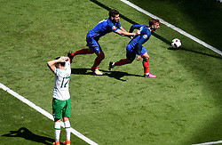 Antoine Griezmann of France celebrates his first goal of the game with Olivier Giroud of France - Mandatory by-line: Joe Meredith/JMP - 26/06/2016 - FOOTBALL - Stade de Lyon - Lyon, France - France v Republic of Ireland - UEFA European Championship Round of 16