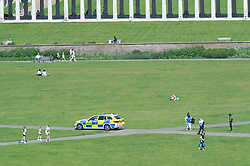 © Licensed to London News Pictures 01/06/2021. Greenwich, UK. Police on patrol. People out and about in Greenwich Park, London as the hot heat wave weather continues. Photo credit:Grant Falvey/LNP