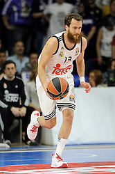 15.04.2015, Palacio de los Deportes stadium, Madrid, ESP, Euroleague Basketball, Real Madrid vs Anadolu Efes Istanbul, Playoffs, im Bild Real Madrid´s Sergio Rodriguez // during the Turkish Airlines Euroleague Basketball 1st final match between Real Madrid vand Anadolu Efes Istanbul t the Palacio de los Deportes stadium in Madrid, Spain on 2015/04/15. EXPA Pictures © 2015, PhotoCredit: EXPA/ Alterphotos/ Luis Fernandez<br /> <br /> *****ATTENTION - OUT of ESP, SUI*****