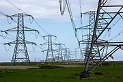 The first electrical pylons coming out of Dungeness B nuclear power station in the Romney Marsh, Kent, United Kingdom. The original power station, Dungeness A, closed down in 2006.