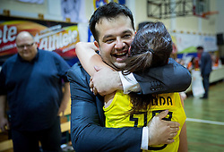 Damir Grgic and Helena Boada celebrate after winning the basketball game between ZKK Athlete Celje and ZKK Triglav Kranj in Final of Slovenian Women National Championship 2014, on April 16, 2014 in Celje, Slovenia. Athlete Celje won 3-0 and became Slovenian Women Basketball Champion 2014. Photo by Vid Ponikvar / Sportida