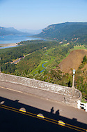 The view of the Columbia River from the Vista House at Crown Point in the Columbia River Gorge, Oregon