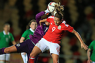 Kayleigh Green of Wales puts pressure on Grace Moloney, the Rep of Ireland goalkeeper. Friendly International Womens football, Wales Women v Republic of Ireland Women at Rodney Parade in Newport, South Wales on Friday 19th August 2016.<br /> pic by Andrew Orchard, Andrew Orchard sports photography.