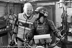 Pat Simmons and Cris Simmons at Steve Coe's house on Wednesday before the Friday start of the Motorcycle Cannonball Cross-Country Endurance Run. Daytona Beach, FL, USA. September 3, 2014.  Photography ©2014 Michael Lichter.