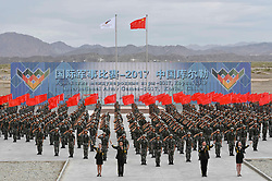 (170730) -- KORLA, July 30, 2017 (Xinhua) -- Photo taken on July 30, 2017 shows a performance of the opening ceremony of the International Army Games 2017 in Korla of northwest China's Xinjiang Uygur Autonomous Region. Six events of the International Army Games 2017 were kicked off at three sites in China Sunday.  (Xinhua/Hu Huhu)(clq) (Photo by Xinhua/Sipa USA)