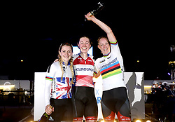 Katie Archibald (centre) celebrates winning the Women's 10km Scratch Race with Laura Kenny (left) and Kirsten Wild during Day Three of the Six Day Series Manchester at the HSBC UK National Cycling Centre.