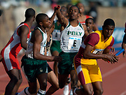 Travon Patterson of Long Beach Poly High (Calif.) takes handoff from Rodney Van on the third leg of the Championship of America Boys 4 x 400-meter relay in the 110th Penn Relays at  Franklin Field on Saturday, April 24, 2004 in Philadelphia. Winslow of New Jersey won in 3:13.71 and Poly was second in 3:14.18.