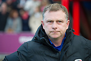 Coventry City Manager Mark Robins before kickoff during the EFL Sky Bet League 2 match between Lincoln City and Coventry City at Sincil Bank, Lincoln, United Kingdom on 18 November 2017. Photo by Craig Zadoroznyj.