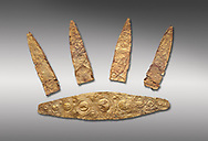 Gold Mycenaean diadem with leaf shaped plates from Grave I, Grave Circle A, Myenae, Greece. National Archaeological Museum Athens. Cat No 184, 185. 16th century BC.  Grey Background .<br /> <br /> If you prefer to buy from our ALAMY PHOTO LIBRARY  Collection visit : https://www.alamy.com/portfolio/paul-williams-funkystock/mycenaean-art-artefacts.html . Type -   Athens    - into the LOWER SEARCH WITHIN GALLERY box. Refine search by adding background colour, place, museum etc<br /> <br /> Visit our MYCENAEN ART PHOTO COLLECTIONS for more photos to download  as wall art prints https://funkystock.photoshelter.com/gallery-collection/Pictures-Images-of-Ancient-Mycenaean-Art-Artefacts-Archaeology-Sites/C0000xRC5WLQcbhQ
