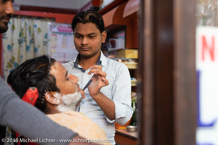 Barbershop in Kathmandu after our Himalayan motorcycling adventure, Nepal. Friday, November 16, 2018. Photography ©2018 Michael Lichter.