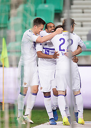 Matej Palcic of Maribor, Marcos Tavares of Maribor, Luka Zahovic of Maribor and Dare Vrsic of Maribor celebrate after Vrsic scored first goal for Maribor during 1st Leg football match between NK Olimpija Ljubljana and NK Maribor in Semifinal of Slovenian Football Cup 2016/17, on April 5, 2017 in SRC Stozice, Ljubljana, Slovenia. Photo by Vid Ponikvar / Sportida