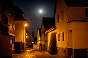 A night scene in Oberursel-Stierstadt illuminated by the moon.
