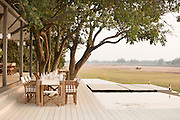 Breakfast setup at the Chinzombo Safari Lodge, Luangwa Valley, Zambia, Africa