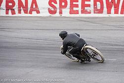 Matt Harris' on his 40 Cal 1923 Harley-Davidson Model-J racer at Billy Lane's Sons of Speed vintage motorcycle racing during Biketoberfest. Daytona Beach, FL, USA. Saturday October 21, 2017. Photography ©2017 Michael Lichter.