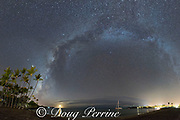 the Milky Way rises above Anaeho'omalu Bay as the moon sets; some shooting stars are visible as straight lines; Waikoloa Resort Area, South Kohala, Hawaii Island ( the Big Island ), Hawaii, U.S.A. ( Central Pacific Ocean )