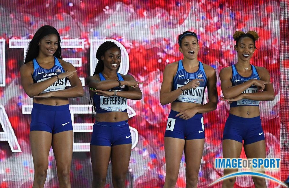 May 12, 2019; Yokohama, JPN; Members of the United STates women's 4 x 200m relay (from left) Gabrielle Thomas, Kyra Jefferson, Jenna Prandini and Shania Collins are introduced during the IAAF World Relays at International Stadium Yokohama.