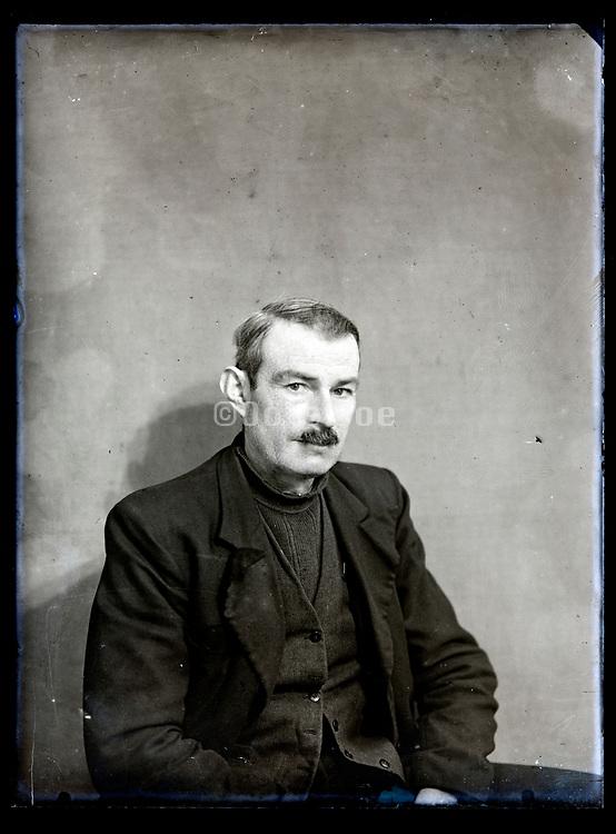 vintage portrait of a man with a mustache France, circa 1930s