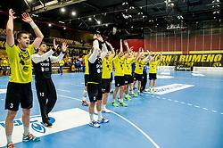 Players of Gorenje celebrate after winning during handball match between RK Gorenje Velenje and Vojvodina in Round #5 of SEHA League 2017/18, on October 2, 2017 in Rdeca dvorana, Velenje, Slovenia. (Photo by Vid Ponikvar / Sportida)