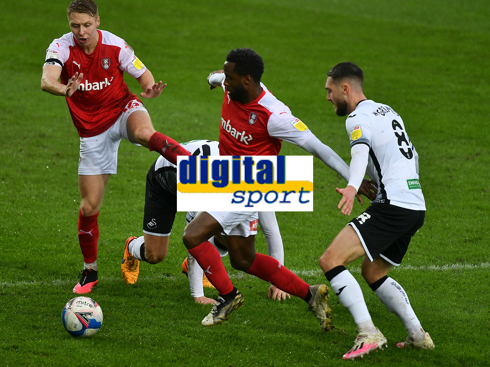 Football - 2020 / 2021 Sky Bet Championship - Swansea City vs Rotherham United - Liberty Stadium<br /> <br /> Florian Jozefzoon Rotherham United contests the ball in a match played without fans<br /> <br /> COLORSPORT/WINSTON BYNORTH