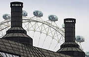 The London Eye seen above roof tops, London, England, United Kingdom