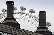 The London Eye seen above roof tops, London, England, United Kingdom