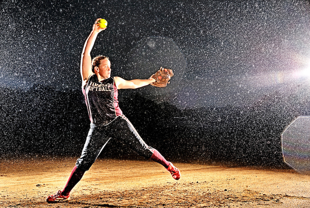 (staff photo by Matt Roth)..Hammond senior pitcher Stephanie Speierman pitches in the high 60's and has used her defensive power to set the Maryland state career strikeout record. Next year she will play for Michigan, one of the top softball programs in the nation. She is photographed at Atholton Elementary School's softball field Tuesday, May 26, 2009.