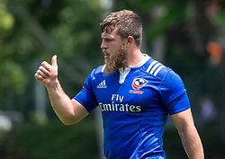 April 3, 2018 - Hong Kong, Hong Kong SAR, CHINA - HONG KONG,HONG KONG SAR,CHINA:April 3rd 2018. The USA Rugby team conduct a training session at So Kon Po recreation ground ahead of their Hong Kong Rugby 7's matches. Thumbs up from Stephen Tomasin (Credit Image: © Jayne Russell via ZUMA Wire)