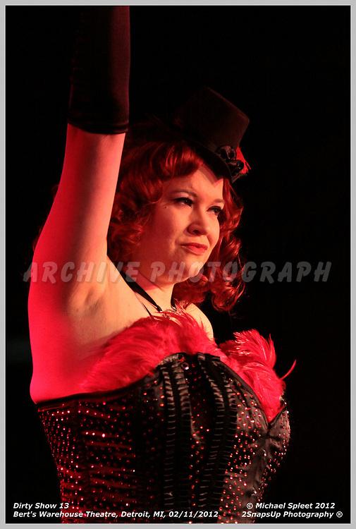 DETROIT, MI, SATURDAY, FEB. 11, 2012: Dirty Show 13, Lula La Rose at Bert's Warehouse Theatre, Detroit, MI, 02/11/2012.  (Image Credit: Michael Spleet / 2SnapsUp Photography)
