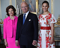 June 21, 2017 - Stockholm, Sweden - Queen Silvia, King Carl XVI Gustaf, Crown Princess Victoria..Audience with Botswana's president H.E. Mr Ian Khama, The Royal Palace, Stockholm, Sweden, 2017-06-21..© Karin Törnblom / IBL  (Credit Image: © Karin TöRnblom/IBL via ZUMA Press)