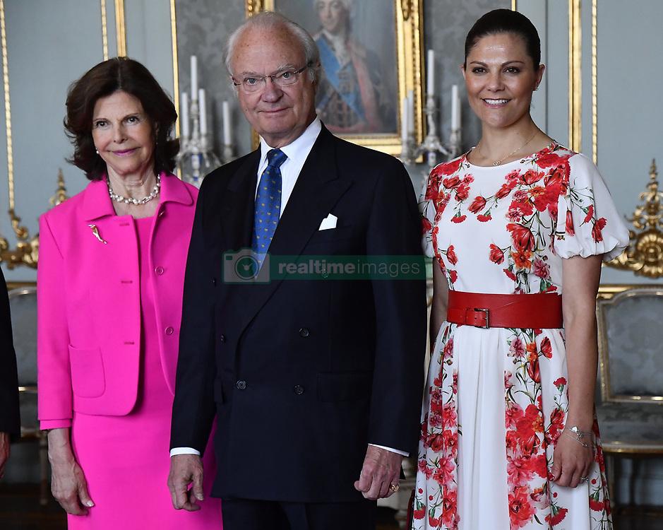 June 21, 2017 - Stockholm, Sweden - Queen Silvia, King Carl XVI Gustaf, Crown Princess Victoria..Audience with Botswana's president H.E. Mr Ian Khama, The Royal Palace, Stockholm, Sweden, 2017-06-21..© Karin Törnblom / IBL  (Credit Image: © Karin TöRnblom/IBL via ZUMA Press)