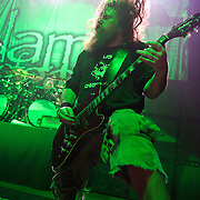 WASHINGTON, DC - January 23rd, 2012 - Guitarist Mark Morton of Richmond, VA-based heavy metal band Lamb of God performs at the 9:30 Club in Washington, D.C. The band released their seventh studio album, Resolution, earlier in the week. (Photo by Kyle Gustafson/For The Washington Post)
