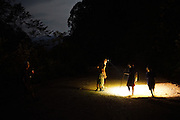 Kelabit native people, sedentary Dayaks. Hunting for spoor tracks of wild boar in forest at night with torches. Long Napir, Limbang, Sarawak 2015<br /><br />Borneo native peoples and their rainforest habitat revisited two decades later: 1989/1991 and 2012/2014/2015. <br /> <br /> Sarawak's primary rainforests have been systematically logged over decades, threatening the sustainable lifestyle of its indigenous peoples who relied on nomadic hunter-gathering and rotational slash & burn cultivation of small areas of forest to survive. Now only a few areas of pristine rainforest remain; for the Dayaks and Penan this spells disaster, a rapidly disappearing way of life, forced re-settlement, many becoming wage-slaves. Large and medium size tree trunks have been sawn down and dragged out by bulldozers, leaving destruction in their midst, and for the most part a primary rainforest ecosystem beyond repair. Nowadays palm oil plantations and hydro-electric dam projects cover hundreds of thousands of hectares of what was the world's oldest rainforest ecosystem which had some of the highest rates of flora and fauna endemism, species found there and nowhere else on Earth, and this deforestation has done irreparable ecological damage to that region