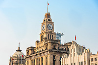 Shanghai, China - April 7, 2013: custom house rooftop the bund at the city of Shanghai in China on april 7th, 2013