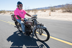 Rick Salisbury of Utah on his 1916 Excelsior during the Motorcycle Cannonball Race of the Century. Stage-14 ride from Lake Havasu CIty, AZ to Palm Desert, CA. USA. Saturday September 24, 2016. Photography ©2016 Michael Lichter.