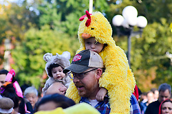 October 31, 2018 - Manhattan, New York, United States - A child seen dressed up in Halloween outfit during the parade..Hundreds of parents and Children dressed in Halloween costume take part in the 27th Annual Kids Halloween Parade in Washington Square Park in New York City. The annual Children's Halloween Parade is organized by New York University and Manhattan Community Board. (Credit Image: © Ryan Rahman/SOPA Images via ZUMA Wire)