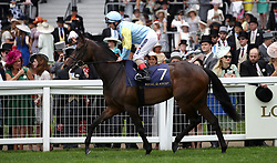 Tomyris ridden by Jockey Andrea Atzeni goes to post for the Duke Of Cambridge Stakes