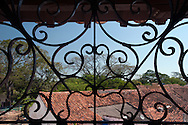 Detail of a wrought-iron lattice of the church of St. Barbara