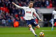 Christian Eriksen of Tottenham Hotspur takes a shot at goal. Premier league match, Tottenham Hotspur v Southampton at Wembley Stadium in London on Boxing Day Tuesday 26th December 2017.<br /> pic by Steffan Bowen, Andrew Orchard sports photography.