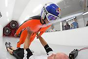 Sarah Hendrickson testing in a wind tunnel in Ogden, Utah, USA on 17 July 2013