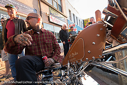 Duke Benitez on his custom bike on Main Street during the Daytona Bike Week 75th Anniversary event. FL, USA. Saturday March 5, 2016.  Photography ©2016 Michael Lichter.