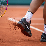 PARIS, FRANCE September 30. Rafael Nadal of Spain knocks the clay off his shoes during his match against Mackenzie McDonald of the United States in the second round of the singles competition on Court Philippe-Chatrier during the  French Open Tennis Tournament at Roland Garros on September 30th 2020 in Paris, France. (Photo by Tim Clayton/Corbis via Getty Images)