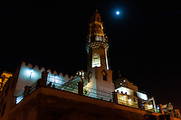 Egypt. Luxor Temple is a large temple complex founded in 1400 BC. The Abu el-Haggag mosque inside the temple, in moonlight.
