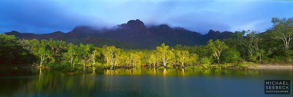 Sunlight briefly illuminates the paperbarks on Little Ramsay Lagoon, as cloud passes over the summit of Mt Bowen on Hinchinbrook Island.<br /> <br /> Code: HAQT0041<br /> <br /> Open Edition Print / Stock Image