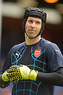 Goalkeeper Petr Cech of Arsenal looks on during the pre-match warm up. Barclays Premier league match, Crystal Palace v Arsenal at  Selhurst Park in London on Sunday 16th August 2015.<br /> pic by John Patrick Fletcher, Andrew Orchard sports photography.