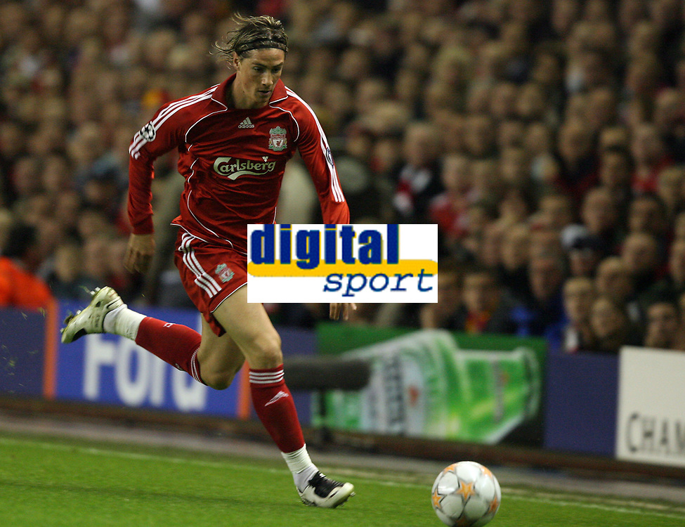 Photo: Paul Greenwood.<br />Liverpool v Marseille. UEFA Champions League, Group A. 03/10/2007.<br />Liverpool's Fernando Torres makes his Anfield Champions League debut