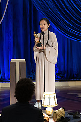 Chloé Zhao accepts the Oscar® for Directing during the live ABC Telecast of The 93rd Oscars® at Union Station in Los Angeles, CA, USA on Sunday, April 25, 2021. Photo by Todd Wawrychuk/A.M.P.A.S. via ABACAPRESS.COM.
