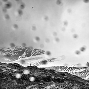 A lone explored is seen on the peak of the Harding Ice Field at the Kenai Fjord National Park in Seward, Alaska. Photo/Alex Menendez.<br /> Instagram: FotoAlexM<br /> Twitter:  @InstinctFilms